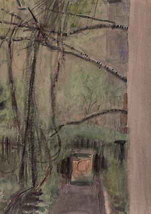 """Manfred Butzmann """"Blick aus dem Küchenfenster Parkstraße 36"""", 1997, Aquarell"""