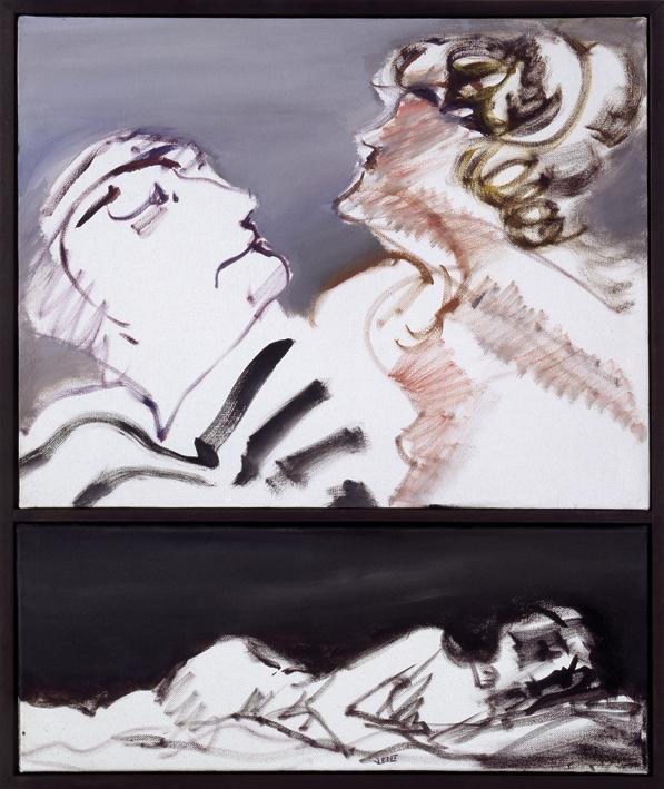 """Hans Vent """"Situationen"""" – 2007 – Öl auf Leinwand (zweiteilig) – 60 x 50cm"""