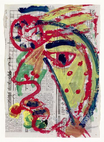 Horst Hussel: ohne Titel · 2007 · Gouache, Tusche, Farbkreiden · 44 x 27 cm