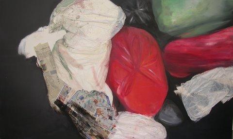 Annedore Dietze: Container, versch. Materialien auf Leinwand, 120 x 200 cm, 2009