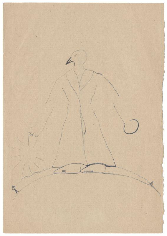 """Uwe Greßmann, """"o.T."""" [zu Vogel Frühling], o.J, Tusche schwarz auf Papier, 21 x 14,8 cm Signatur 1095 · Archiv der Akademie der Künste Berlin"""