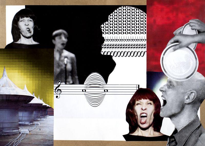 """Klaus Killisch """"Stimmen und Objekte"""", 2016, Collage auf Papier, 50x70cm"""