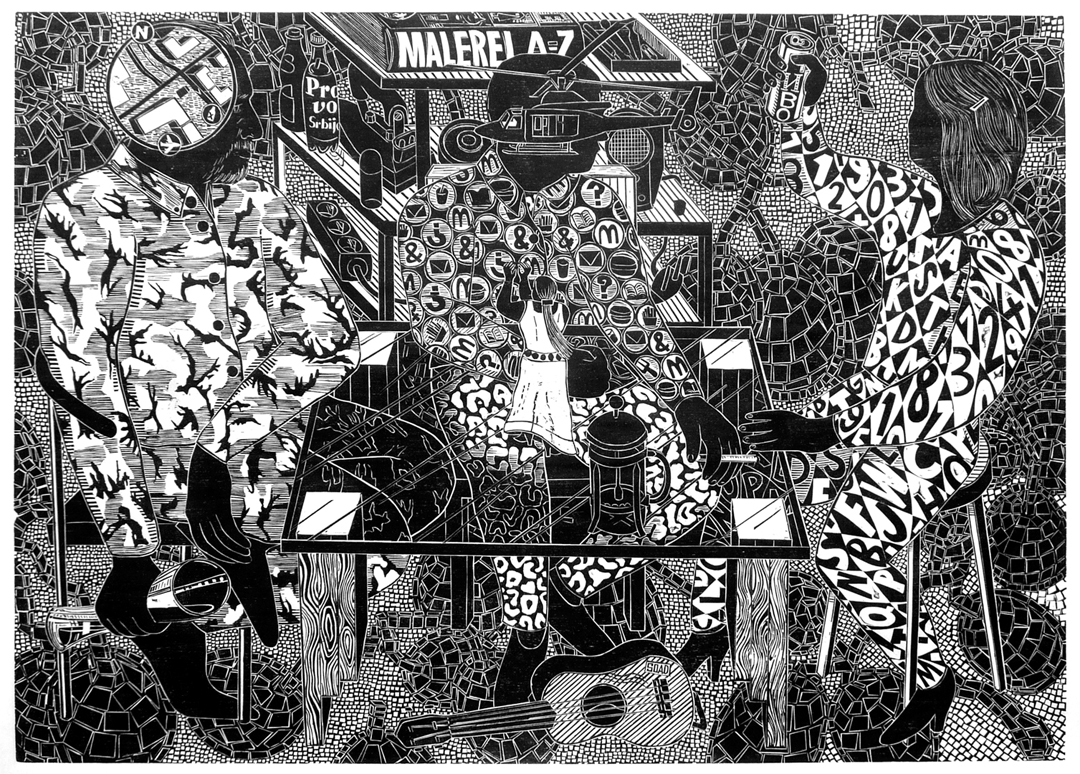 Holzschnitt der Künstlerin Gabriela Jolowicz